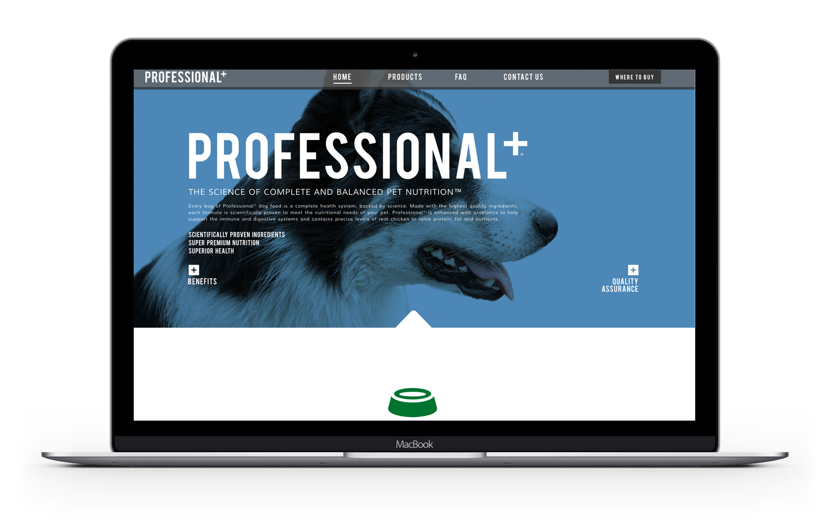 Professional+ Formula for Dogs home page of their website