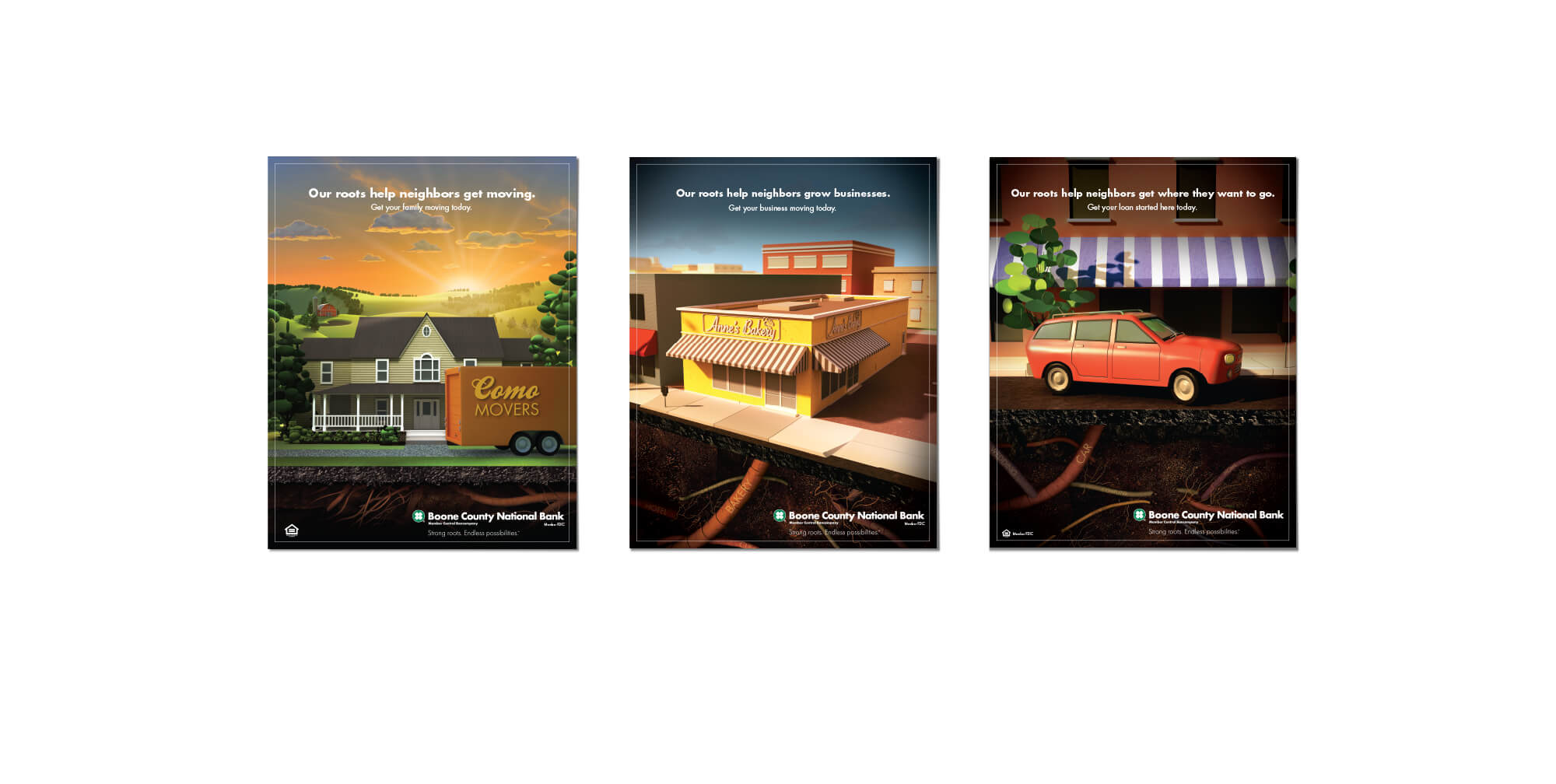 Boone County Bank Roots Campaign printed posters