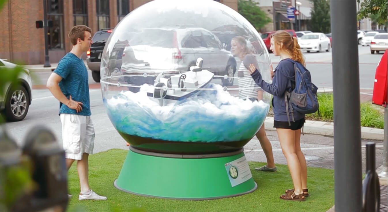 Central bank human size snow globe
