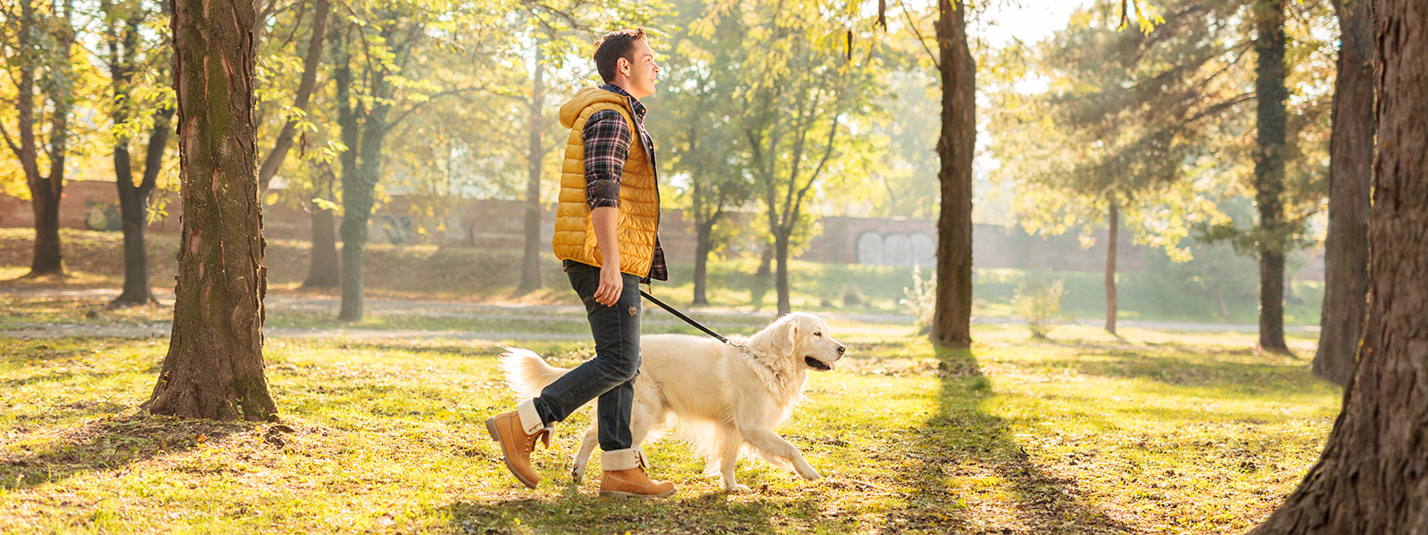 Young Man Walking His Dog at a Park | Woodruff