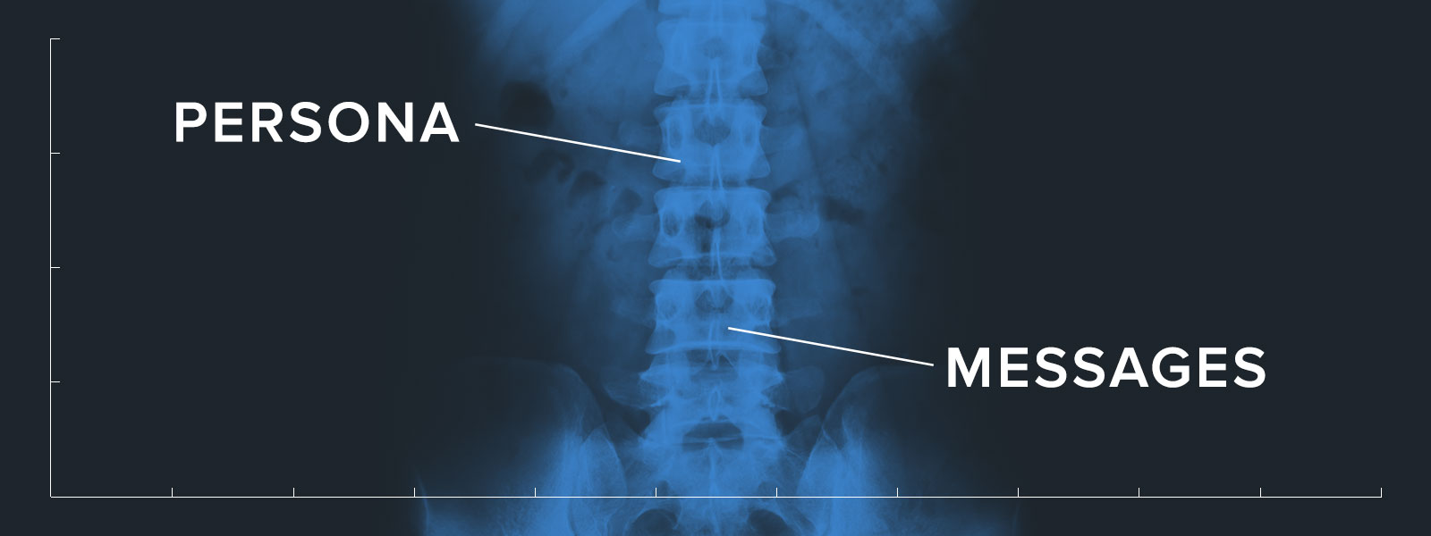 "X-Ray of a Human Backbone With ""Persona"" on One End and ""Messages"" on the Other 