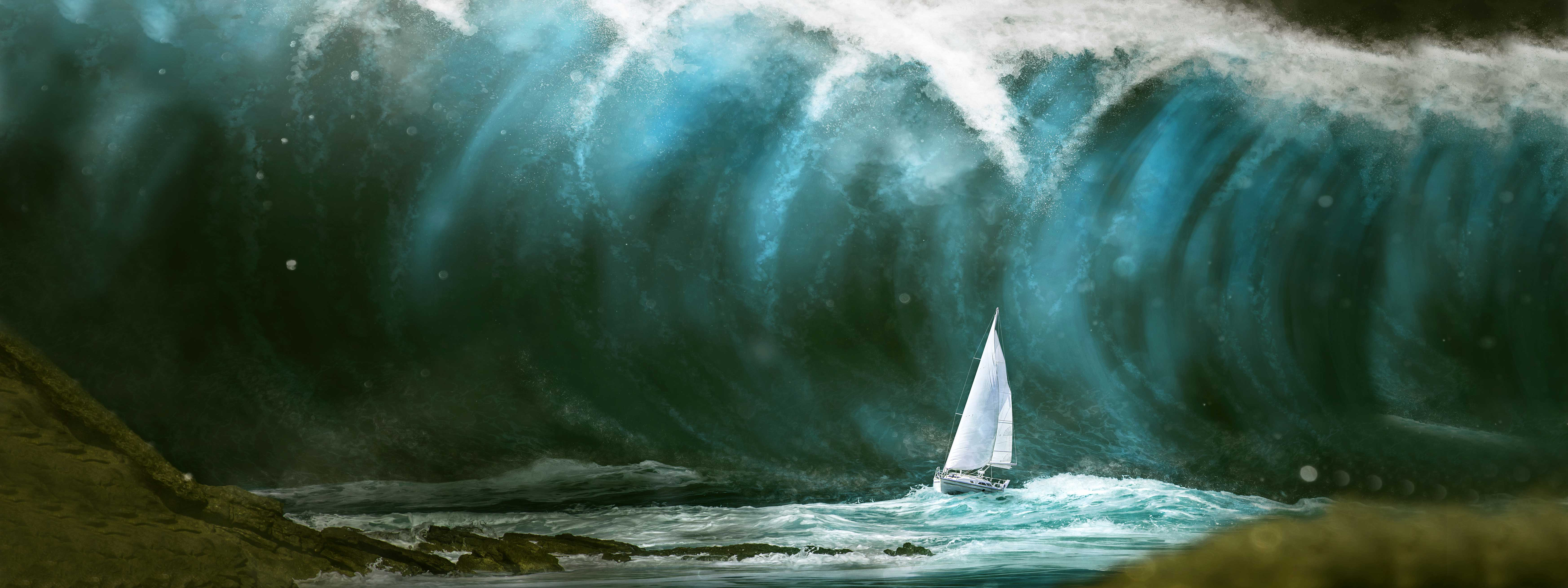 Huge Tsunami Wave Near a Yacht   Woodruff