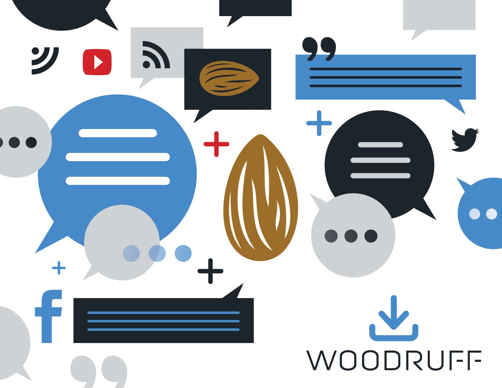 Illustration of an Almond Surrounded by Messaging and Social Media Logos | Woodruff
