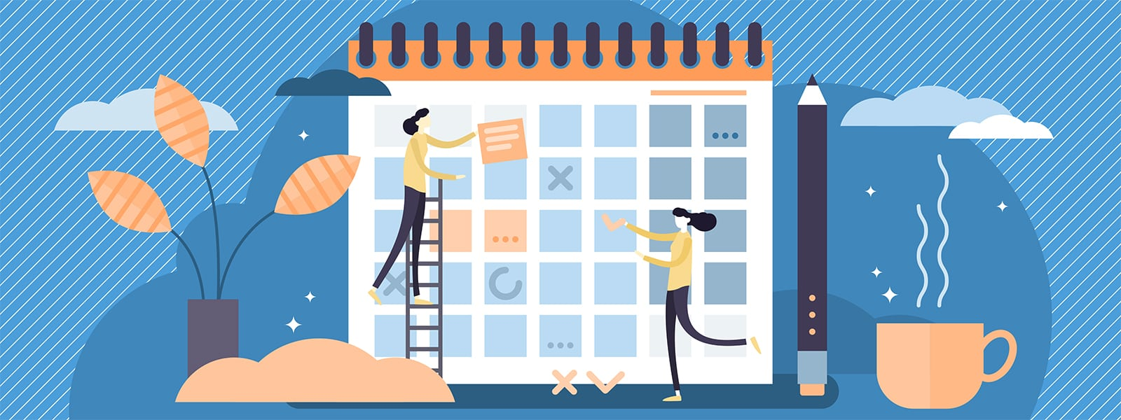 Illustration of Two People Putting Together a Content Plan | Woodruff